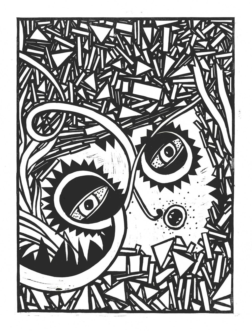 Linolschnitt 43 x 54,5 cm